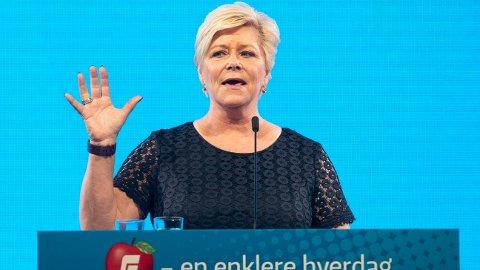 Partileder Siv Jensen og Fremskrittspartiet har blinket ut fem områder hvor partiet krever gjennomslag for å sikre regjeringen flertall for neste års statsbudsjett. Foto: Berit Roald / NTB