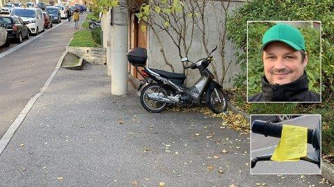 BOT PÅ PRIVAT TOMT: I dette borettslaget på Sinsen i Oslo er det tre privatregulerte oppstillingsplasser for motorsykler, mopeder og scootere. Etter 15 år i ro og fred fikk alle som hadde parkert der, plutselig bot, blant dem Fredrik Hovland (bildet)