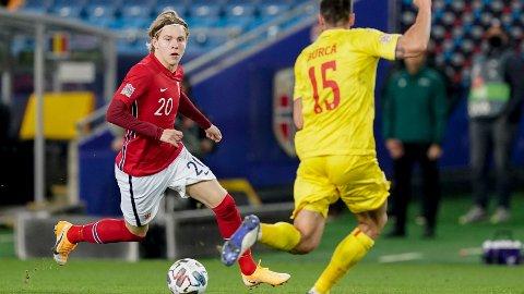 Jens Petter Hauge fikk sin debut på landslaget i Nations League mot Romania 11. oktober. Han kan få en ny sjanse mot Israel.