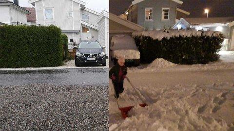 NÅ OG DA: Begge bildene er fra samme sted i Tønsberg 11. november. Til venstre ser du 2020, til høyre 2019.