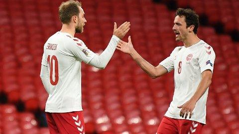 Christian Eriksen og Thomas Delaney er sentrale brikker for Danmark. I kveld er Danmark storfavoritt hjemme mot Island i Nations League.