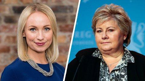 DIKTATUR: TV 2s programleder Linn Wiik og statsminister Erna Solberg.