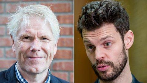 LØNNSFEST: Rødt-leder Bjørnar Moxnes (t.h) mener tidligere Tønsberg-rådmann Geir Viksand, som tjener 1,5 millioner kroner, og de andre eks-rådmennene i Kommune-Norge burde tjene mindre enn i dag.