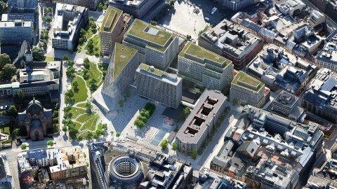 DYRT OG SENTRALT: Det nye regjeringskvartalet koster 36 milliarder kroner og skal ligge midt i Oslo.