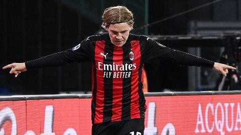 MÅL: Jens Petter Hauge scoret sitt første mål i Serie A.