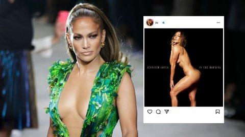 NAKEN: Jennifer Lopez poserer kliss naken på coveret til sin nye singel.