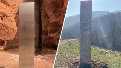 FORUNDRER: To monolitter, en på hver side av kloden, skaper forundring.