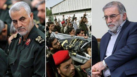 DET TYNNES I REKKENE: Revolusjonsgardens Qasem Soleimani (fra venstre), Al Qaidas nestleder Muhammed al-Masri og atomforskeren Mohsen Fakhrizadeh er alle likvidert i løpet av de siste 12 månedene.