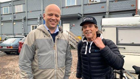 Det er all grunn til å smile om dagen for Senterparti-leder Trygve Slagsvold Vedum (t.v.) og Jan Bøhler.