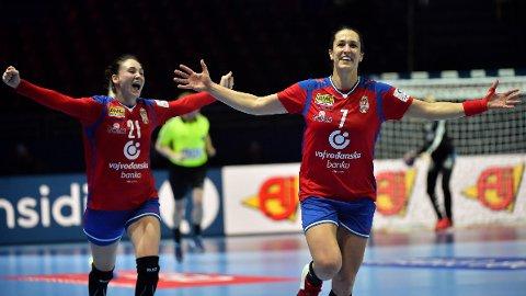 PÅ PLASS: Dijana Radojevic, Andrea Lekic og resten av det serbiske landslaget har ankommet Kolding, men det gikk ikke smertefritt.