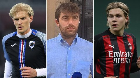 PROFILER I ITALIA: Overgangsjournalist Fabrizio Romano (i midten) er i likhet med Morten Thorsby (t.v) og Jens Petter Hauge (t.h) en stor stjerne i fotballsirkuset i Italia.