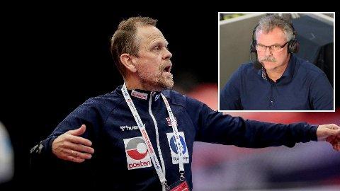 NEKTER Å TA AV: Thorir Hergeirsson holder beina godt plantet på jorda etter seieren mot Tyskland. Det viste han i all tydelighet på pressekonferansen etter kampen.