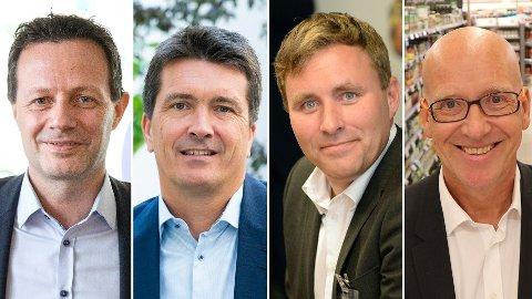 DAGLIGVARETOPPER: Konsernsjef Runar Hollevik i Norgesgruppen (til venstre), Rema-sjef Ole Robert Reitan, Bunnpris-sjef Christian Lykke og konsernsjef Geir Inge Stokke i Coop Norge.
