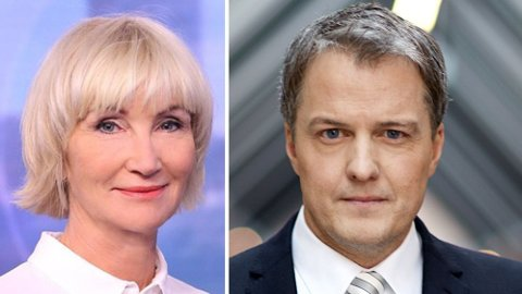 INNTEKTSTOPPEN: NRK Dagsrevyens Nina Owing og TV2s Sturla Dyregrov er lønnsledende i hver sin gruppe nyhetsankre.