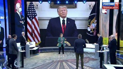 I TV-programmet 60 минут, den russiske versjonen av 60 Minutes, diskuterte de at president Donald Trump kunne bli tiltalt for alt fra skatteunndragelse til bedrageri og seksuelt overgrep. I midten, programlederOlga Skabeeva.