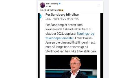TRAVELT: Bareier Per Sandberg spøkte på Facebook med at han ville få det travelt fremover.