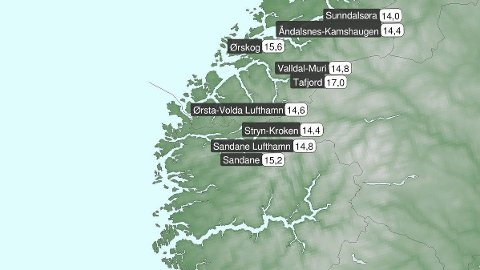 Det ble satt varmerekorder flere steder på Vestlandet lørdag. I Tafjord på Sunnmøre ble det målt hele 17 grader.