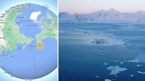 En russisk forsker mener det er godt hold for en teori om at oppvarming i Arktis har en årsakssammenheng med jordskjelv i øygruppen Aluetene helt nord i Stillehavet. Bilde til høyre er fra Svalbard.