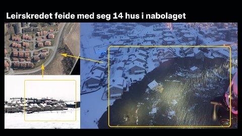 KATASTROFE: Midt på natten skjedde leirskredet som feide med seg 14 hus i Nystulia på Ask i Gjerdrum