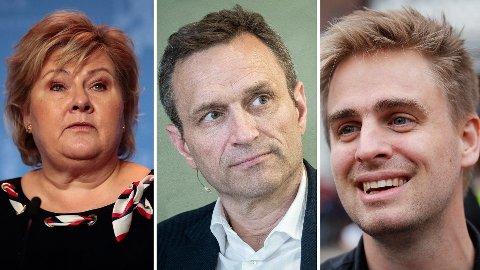 KLIMAPERSPEKTIVET: Erna Solberg, Arild Hermstad og Eivind Trædal trekker fram klimaperspektivet i forbindelse med skredet i Gjerdrum.