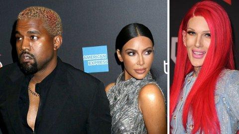 Jeffree Star (t.h) har blitt dratt inn i Kanye West (t.v) og Kim Kardashian Wests (midten) skilsmissedrama.