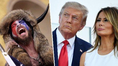 SKJELLES UT: Bildene av Jake Angeli og de andre Kongressen-stormerne har rystet verden. De ble oppildnet av Donald Trump, men får nå tung kritikk fra hans kone Melania Trump.