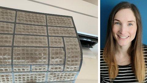 MER VARME: Ser filtrene dine slik ut? Da bør du gjøre som Lise Vermelid Kristoffersen og familien, for å få det varmere hjemme. Illustrasjonsfoto av filter dekket med støv.