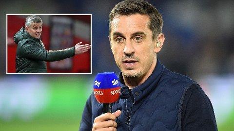 TVILER FORTSATT: Manchester United spilte uavgjort mot Liverpool på Anfield. Gary Neville (t.h.) tviler imidlertid fortsatt på at gamleklubben kan vinne ligagull.