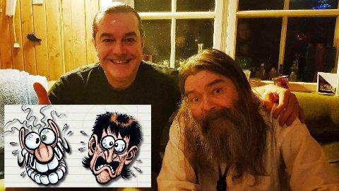 Tommy Sydsæter (til venstre) og Rolf Håndstad stod bak de legendariske tegneseriefigurene Rhesus Minus og Tommy Tusj.Foto: Anne Boger.