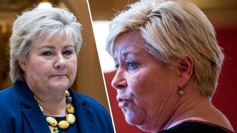 NEDTUR: Ett år etter regjeringsbruddet mellom statsminister og Høyre-leder Erna Solberg og Frp-leder Siv Jensen, går både Høyre og Frp tilbake i Nettavisens januarmåling fra Sentio. Frp får en ny bunnotering.