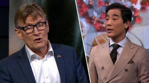 FAGMANN ELLER POLITIKER? Rødt-politiker, Palestina-aktivist og lege Mads Gilbert sang ut i NRK Debatten - her med programleder Fredrik Solvang.