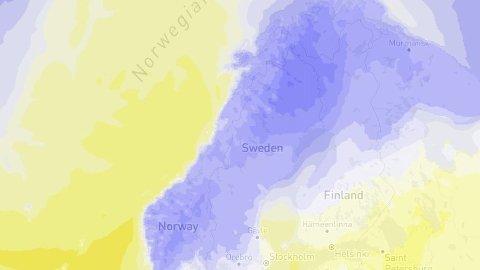 Blå grader: Etter mange dager med mildvær kryper gradene nedover gradestokken over hele landet. FOTO: Storm.no