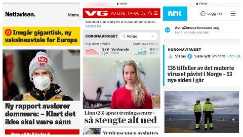 ØKTE: Tv og gratis nettaviser er to av de viktigste nyhetskildene for folk flest. Bruken av tv, nettaviser og strømmetjenester økte umiddelbart etter nedstengningen av Norge i mars 2020. Illustrasjonsbilde.