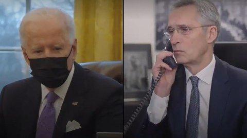 UVANLIG: President Joe Biden delte video av samtale med NATO-sjef Jens Stoltenberg på Twitter.