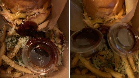 ISKALD: Maten til 900 kroner som Syslak fikk var iskald og sausen lå overalt, sier kunden som nå har kuttet ut leveringstjenesten.