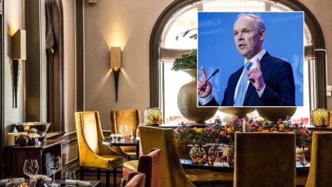 INGEN REDNING: - Hvorfor er det 8 prosent rente på utsatte skatter og avgifter når det er gratis å låne penger? sier Erik Pedersen, daglig leder i Sawan restaurant (bakgrunndbildet) om redningspakken finansminister Jan Tore Sanner (innfelt) da fram fredag.