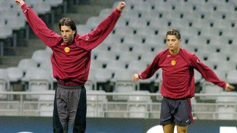 TIDLIGERE LAGKAMERATER: Ruud van Nistelrooy skal ha blitt rasende på Cristiano Ronaldo under en United-trening da de to var i klubben.