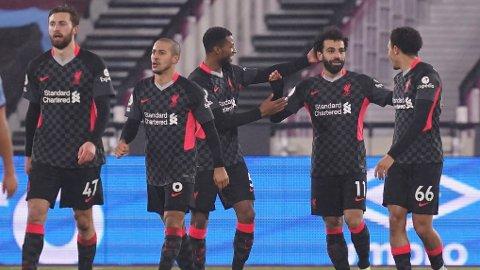 HERJET: Mohamed Salah scoret to mål da Liverpool slo West Ham 3-1 søndag.