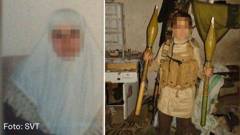 Til venstre ser du bildet av kvinnen. Til høyre er et av hennes barn fotografert mens han holder to RPG'er. Bildene er gjengitt med tillatelse fra SVT.