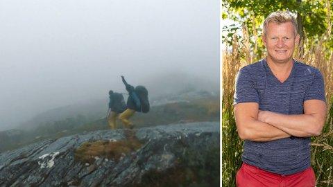FALLER: Steffen Iversen går rett i bakken når han sklir på det våte fjellunderlaget.