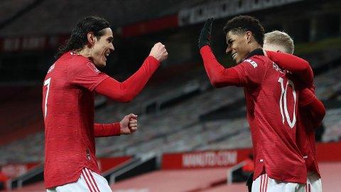 Edinson Cavani og Marcus Rashford jubler etter scoring i FA-cup kampen hjemme mot Liverpool. I dag venter bortekamp mot West Bromwich for Manchester United.