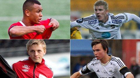 TALENTER: Joshua King (oppe til venstre), Emil Jonassen (oppe til høyre), Mats Møller Dæhli (nede til venstre) og Ole Selnæs var alle på Nettavisens talentliste i 2012.