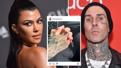 KJÆRESTER: Kourtney Kardashian har funnet lykken med trommeslageren Travis Barker.