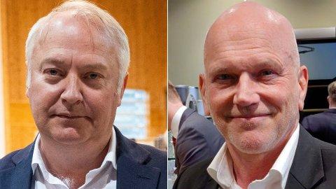 PANIKK: Frp mister store mengder velgere til Demokratene, som nylig fikk den ekskluderte Frp-lederen i Oslo, Geir Ugland Jacobsen (t.h.), med på laget. Vidar Kleppe (t.v) ble kastet ut av Frp for 20 år siden, og er politisk nestleder i partiet. De mener deres gamle parti nå har panikk.