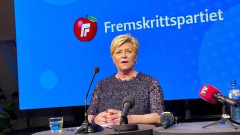 TREKKER SEG: Frp-leder Siv Jensen trekker seg etter snart 15 år i sjefsstolen.