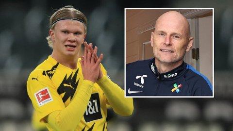 IMPONERT: Landslagssjef Ståle Solbakken er blant flere som lot seg begeistre av prestasjonen til Erling Braut Haaland i Champions League denne uken.