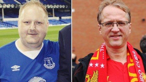 AMPERT: Evertons supporterleder Helge Grunnevåg (til venstre) og Liverpools supporterleder Pål Møller er spente foran lørdagens Merseyside-derby.