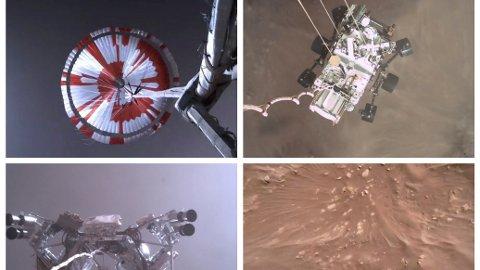 Bildene viser hvordan roboten nærmer seg overflaten på Mars sist torsdag.