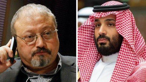 Saudi-Arabias kronprins Mohammed bin Salman (til høyre) har beklaget drapet på den regimekritiske journalisten Jamal Khashoggi, men nekter for å ha beordret det.