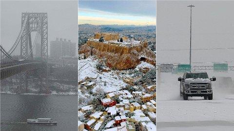 UNORMALT VINTERVÆR: Snø lavet ned der man ikke er vant til det i februar. Her fra George Washington Bridge i New Jersey i USA, Akropolis i Athen i Hellas og Houston i Texas i USA.